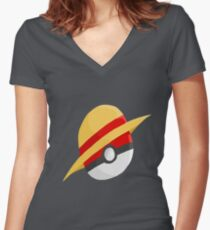 Pokeball and Luffy's hat Women's Fitted V-Neck T-Shirt