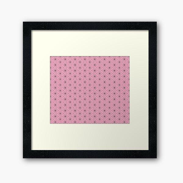 Nezuko's Kimono Pattern: Traditional Japanese Pink Asanoha Pattern, Demon Slayer Framed Art Print