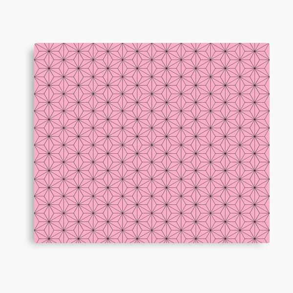 Nezuko's Kimono Pattern: Traditional Japanese Pink Asanoha Pattern, Demon Slayer Canvas Print