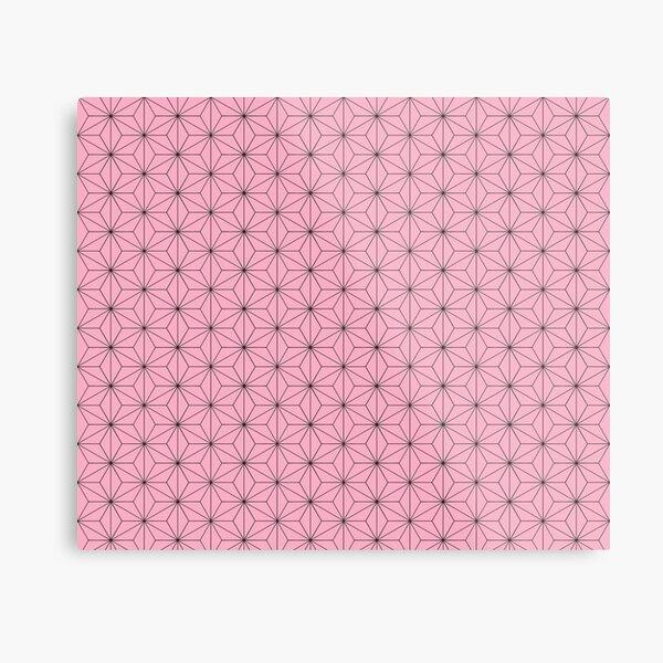 Nezuko's Kimono Pattern: Traditional Japanese Pink Asanoha Pattern, Demon Slayer Metal Print