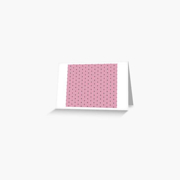 Nezuko's Kimono Pattern: Traditional Japanese Pink Asanoha Pattern, Demon Slayer Greeting Card