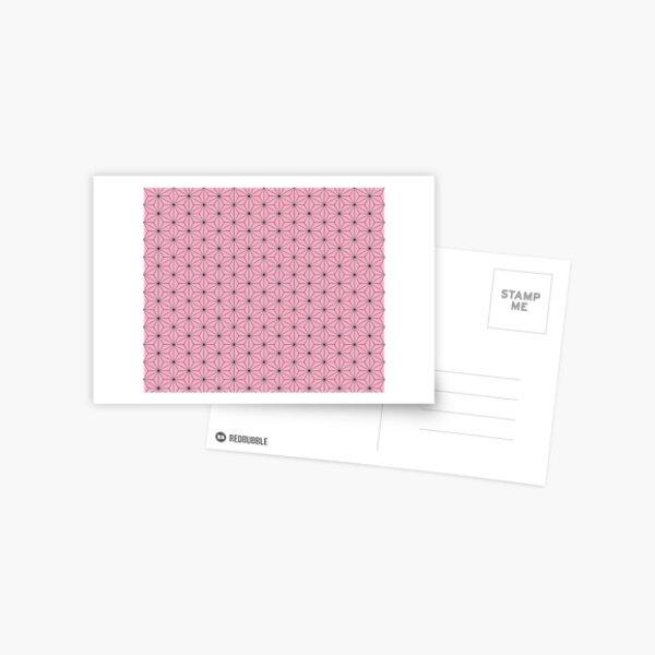 Nezuko's Kimono Pattern: Traditional Japanese Pink Asanoha Pattern, Demon Slayer Postcard