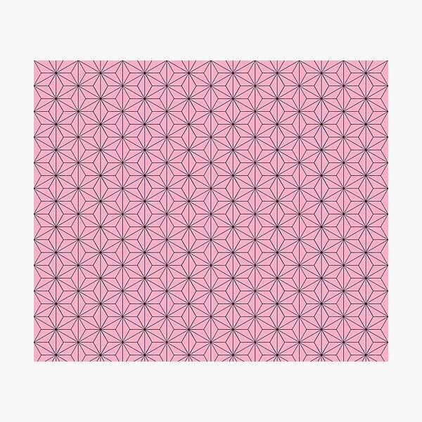 Nezuko's Kimono Pattern: Traditional Japanese Pink Asanoha Pattern, Demon Slayer Photographic Print