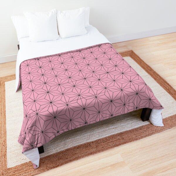 Nezuko's Kimono Pattern: Traditional Japanese Pink Asanoha Pattern, Demon Slayer Comforter