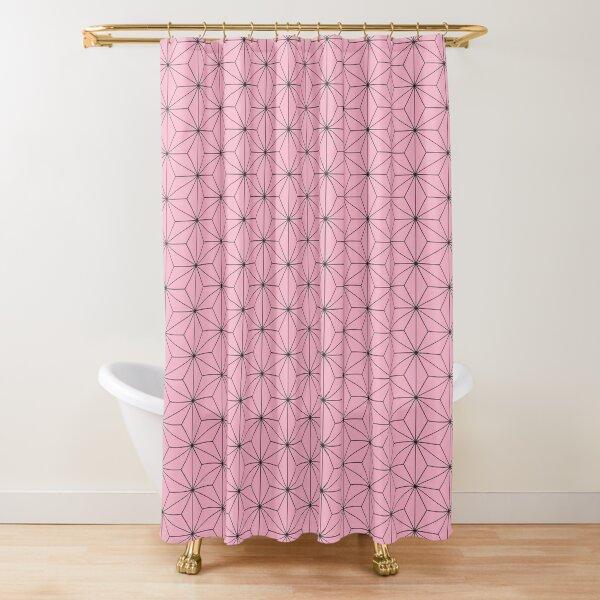 Nezuko's Kimono Pattern: Traditional Japanese Pink Asanoha Pattern, Demon Slayer Shower Curtain