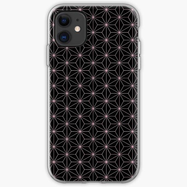 Traditional Japanese Asanoha Kimono pattern, Black And Pink Geometric Pattern, Japanese Haori Pattern iPhone Soft Case