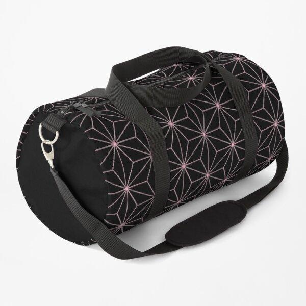 Traditional Japanese Asanoha Kimono pattern, Black And Pink Geometric Pattern, Japanese Haori Pattern Duffle Bag