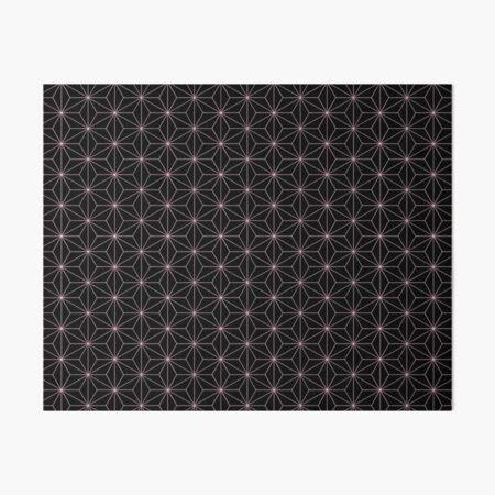 Traditional Japanese Asanoha Kimono pattern, Black And Pink Geometric Pattern, Japanese Haori Pattern Art Board Print