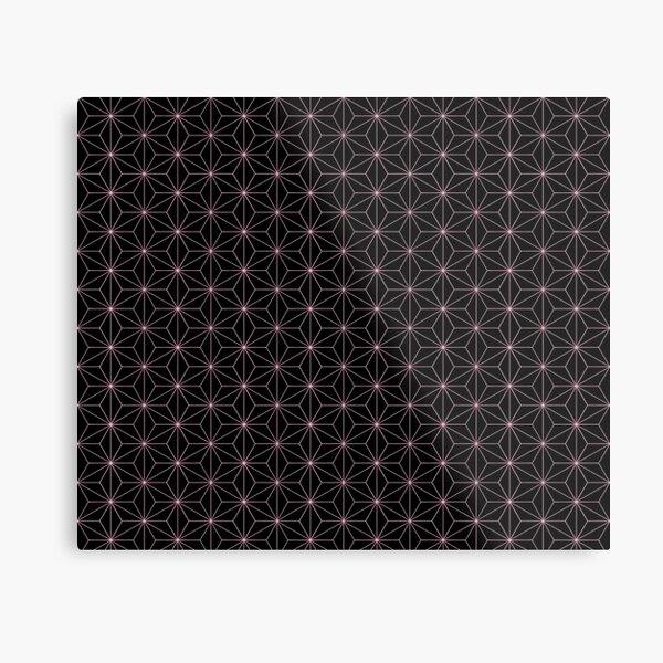 Traditional Japanese Asanoha Kimono pattern, Black And Pink Geometric Pattern, Japanese Haori Pattern Metal Print