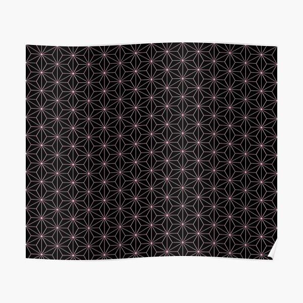 Traditional Japanese Asanoha Kimono pattern, Black And Pink Geometric Pattern, Japanese Haori Pattern Poster