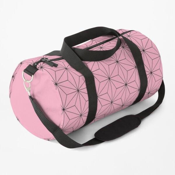 Traditional Japanese Asanoha Kimono pattern, Pink Geometric Pattern, Japanese Haori Pattern Duffle Bag