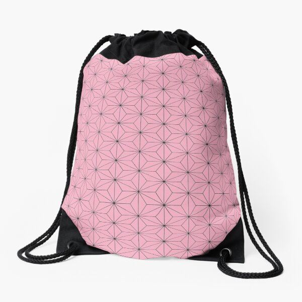 Nezuko's Kimono Pattern: Traditional Japanese Pink Asanoha Pattern, Demon Slayer Drawstring Bag