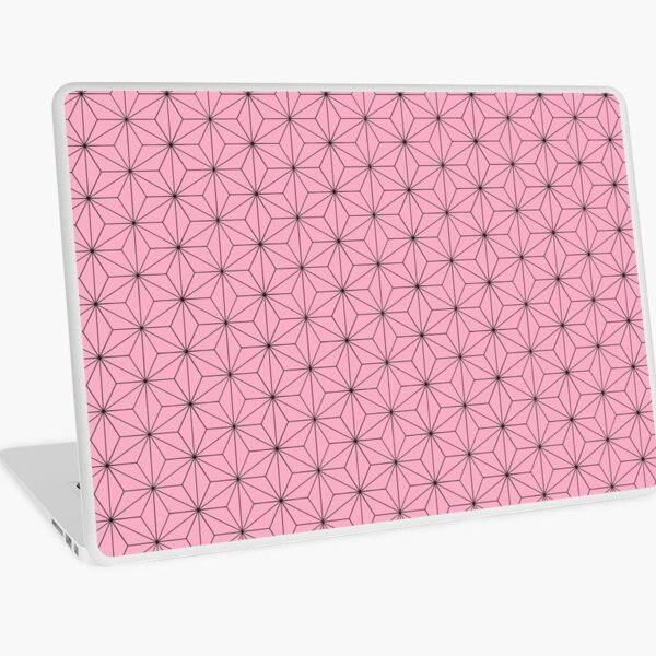 Nezuko's Kimono Pattern: Traditional Japanese Pink Asanoha Pattern, Demon Slayer Laptop Skin