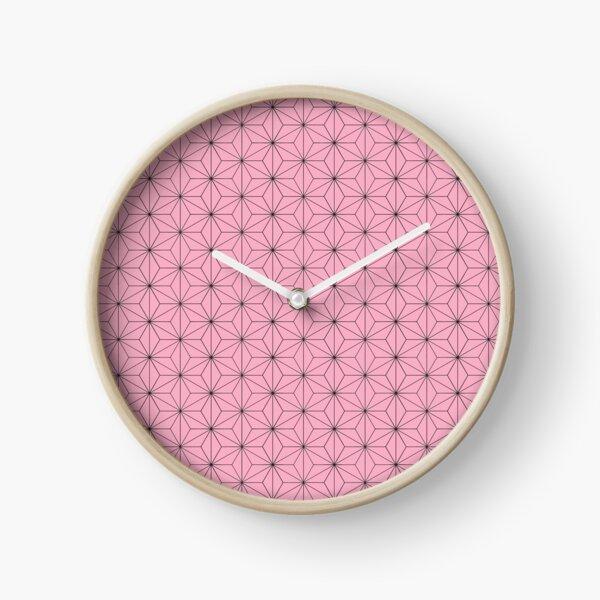Nezuko's Kimono Pattern: Traditional Japanese Pink Asanoha Pattern, Demon Slayer Clock