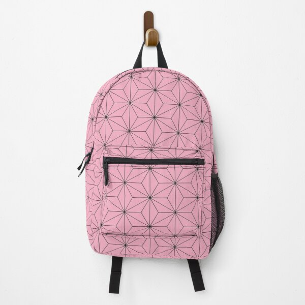 Nezuko's Kimono Pattern: Traditional Japanese Pink Asanoha Pattern, Demon Slayer Backpack