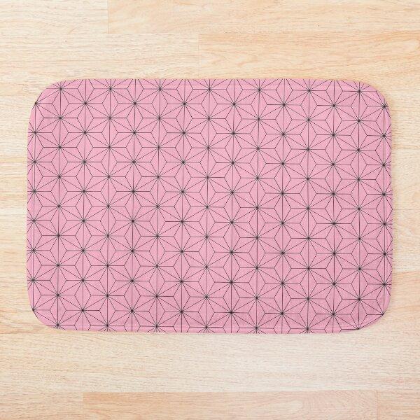 Nezuko's Kimono Pattern: Traditional Japanese Pink Asanoha Pattern, Demon Slayer Bath Mat