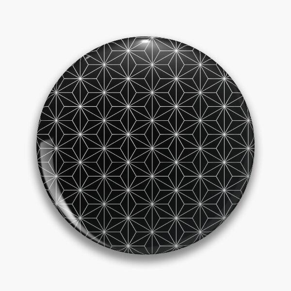 Traditional Japanese Asanoha White on Black Geometric Pattern Kimono Pin