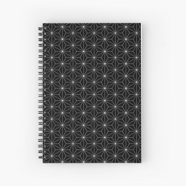Traditional Japanese Asanoha White on Black Geometric Pattern Kimono Spiral Notebook