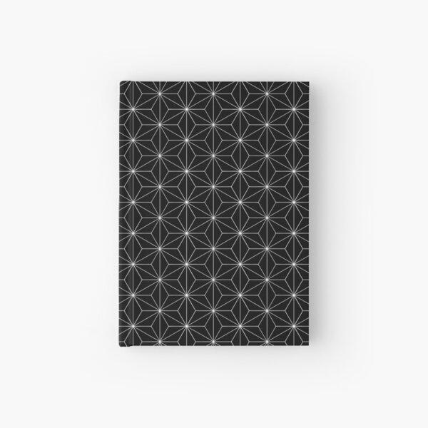 Traditional Japanese Asanoha White on Black Geometric Pattern Kimono Hardcover Journal