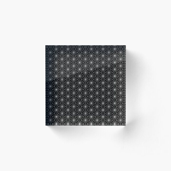 Traditional Japanese Asanoha White on Black Geometric Pattern Kimono Acrylic Block