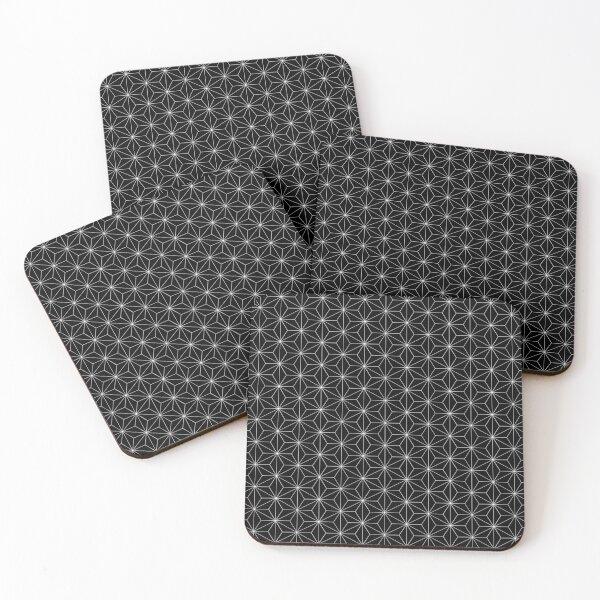 Traditional Japanese Asanoha White on Black Geometric Pattern Kimono Coasters (Set of 4)