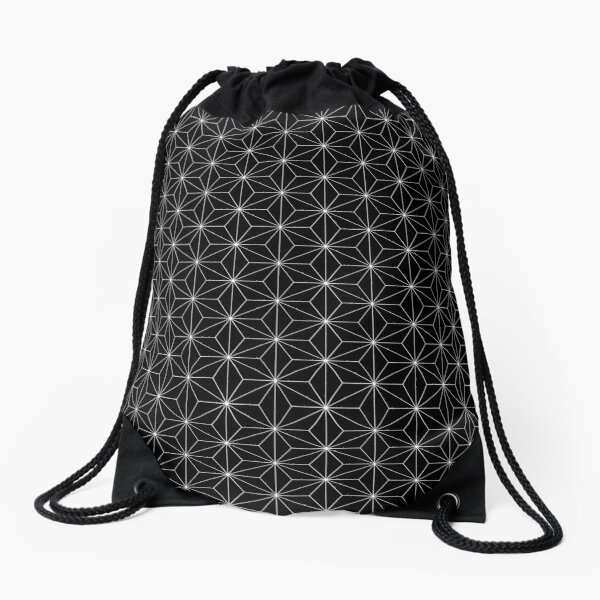 Traditional Japanese Asanoha White on Black Geometric Pattern Kimono Drawstring Bag