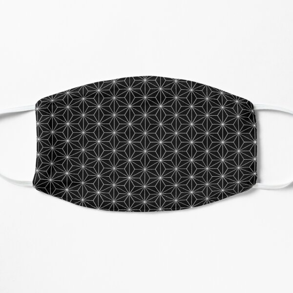 Traditional Japanese Asanoha Kimono pattern, Black And White Geometric Pattern, Japanese Haori Pattern Mask