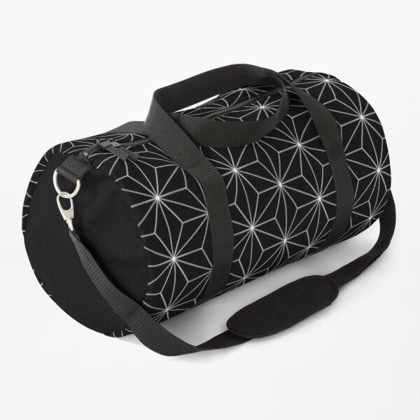 Traditional Japanese Asanoha Kimono pattern, Black And White Geometric Pattern, Japanese Haori Pattern Duffle Bag