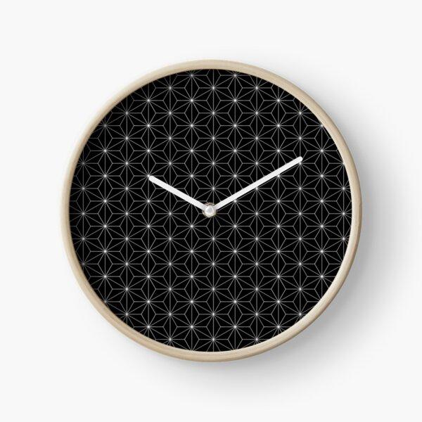Traditional Japanese Asanoha White on Black Geometric Pattern Kimono Clock