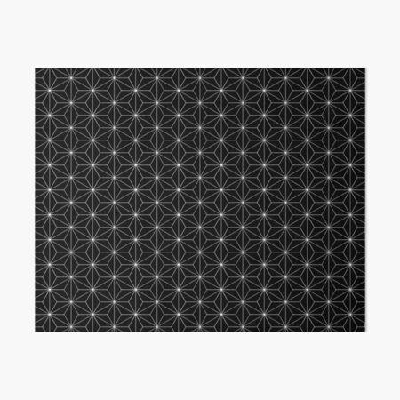 Traditional Japanese Asanoha White on Black Geometric Pattern Kimono Art Board Print