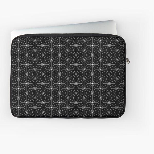 Traditional Japanese Asanoha White on Black Geometric Pattern Kimono Laptop Sleeve