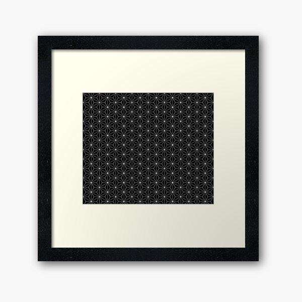Traditional Japanese Asanoha White on Black Geometric Pattern Kimono Framed Art Print