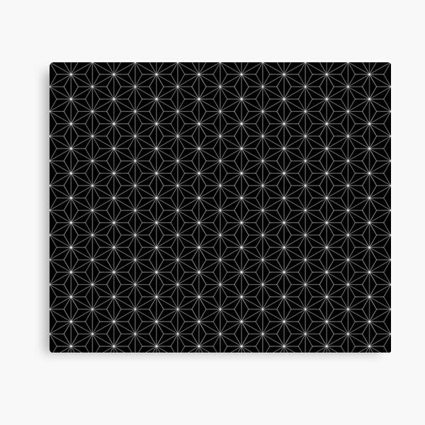 Traditional Japanese Asanoha White on Black Geometric Pattern Kimono Canvas Print