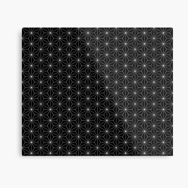 Traditional Japanese Asanoha White on Black Geometric Pattern Kimono Metal Print