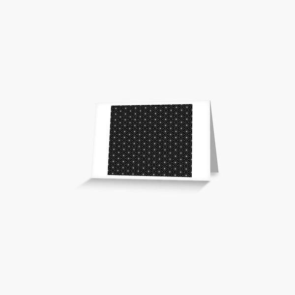 Traditional Japanese Asanoha White on Black Geometric Pattern Kimono Greeting Card