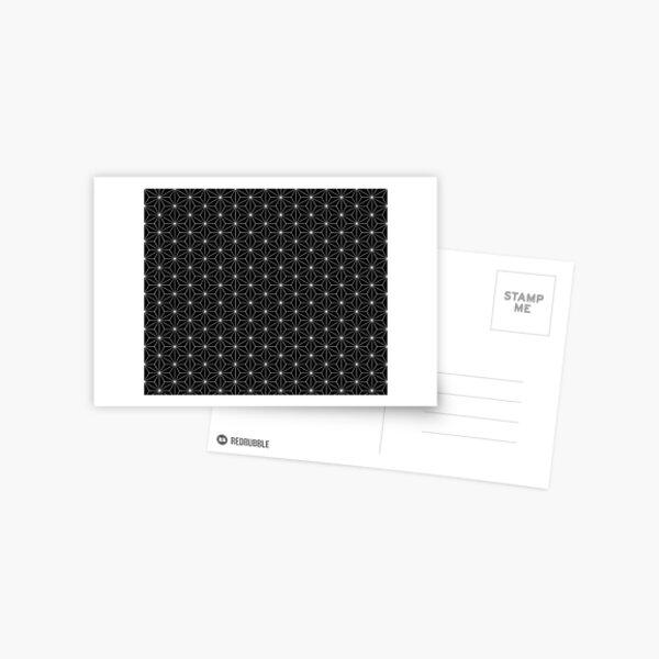 Traditional Japanese Asanoha White on Black Geometric Pattern Kimono Postcard