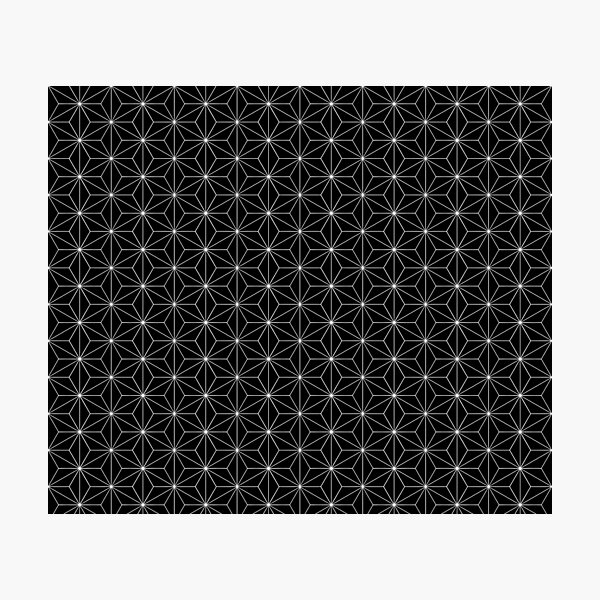Traditional Japanese Asanoha White on Black Geometric Pattern Kimono Photographic Print
