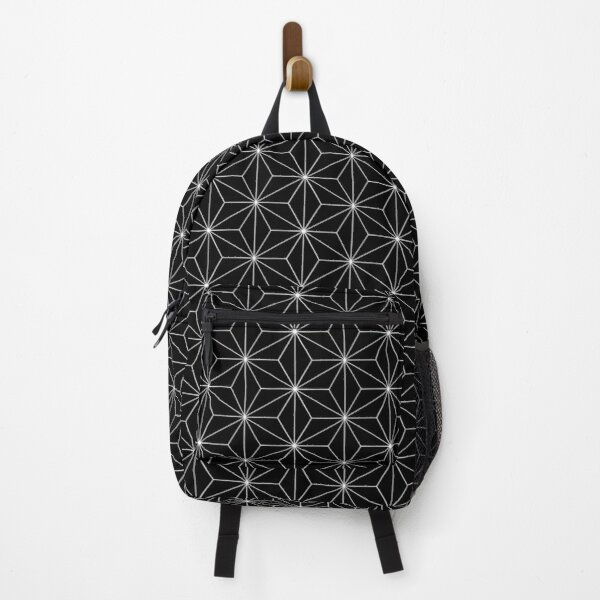 Traditional Japanese Asanoha White on Black Geometric Pattern Kimono Backpack