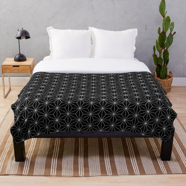 Traditional Japanese Asanoha White on Black Geometric Pattern Kimono Throw Blanket