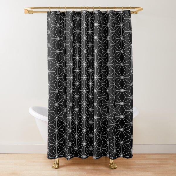 Traditional Japanese Asanoha White on Black Geometric Pattern Kimono Shower Curtain