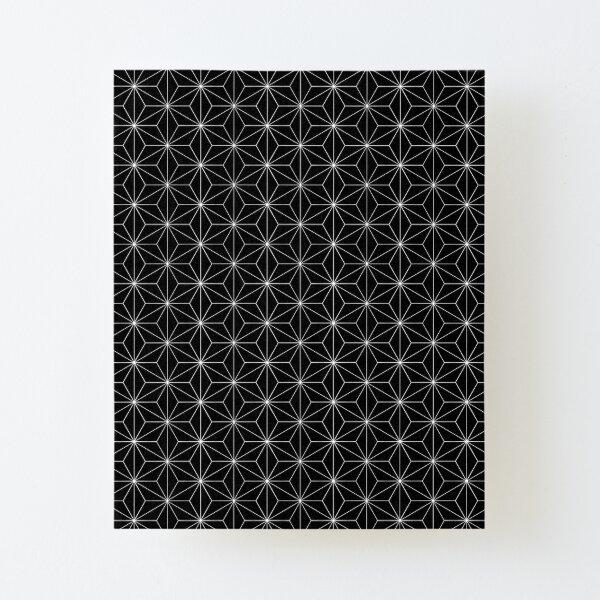 Traditional Japanese Asanoha White on Black Geometric Pattern Kimono Canvas Mounted Print