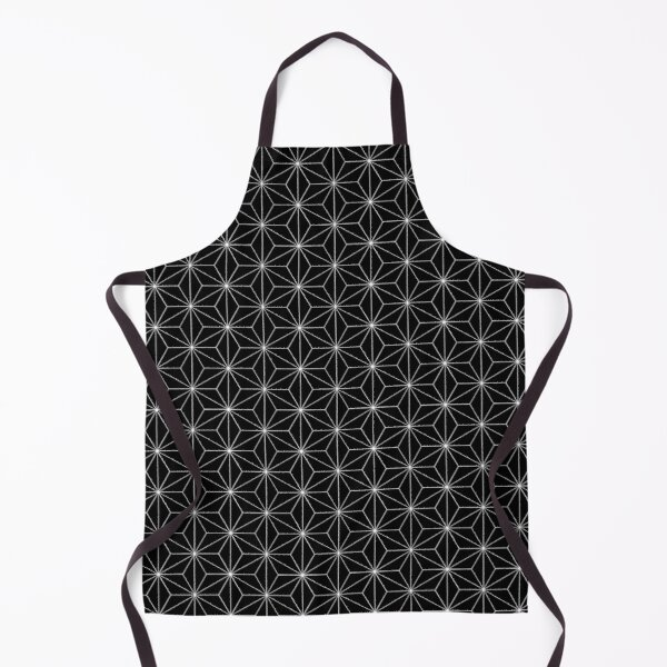 Traditional Japanese Asanoha Kimono pattern, Black And White Geometric Pattern, Japanese Haori Pattern Apron