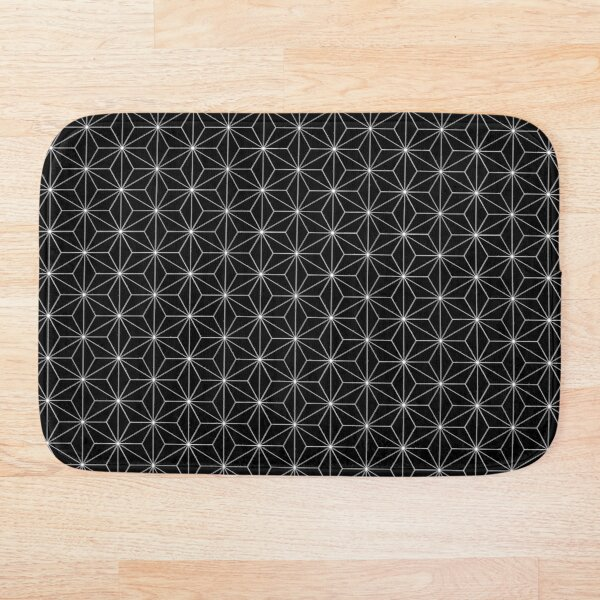 Traditional Japanese Asanoha White on Black Geometric Pattern Kimono Bath Mat