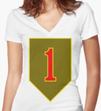 1st Infantry Division, US Army Women's Fitted V-Neck T-Shirt