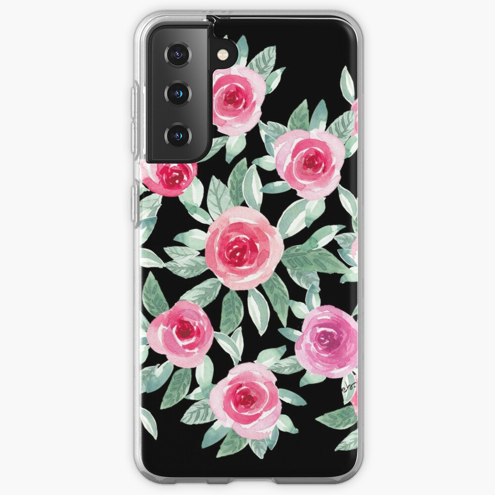 Watercolour Roses in black Case & Skin for Samsung Galaxy