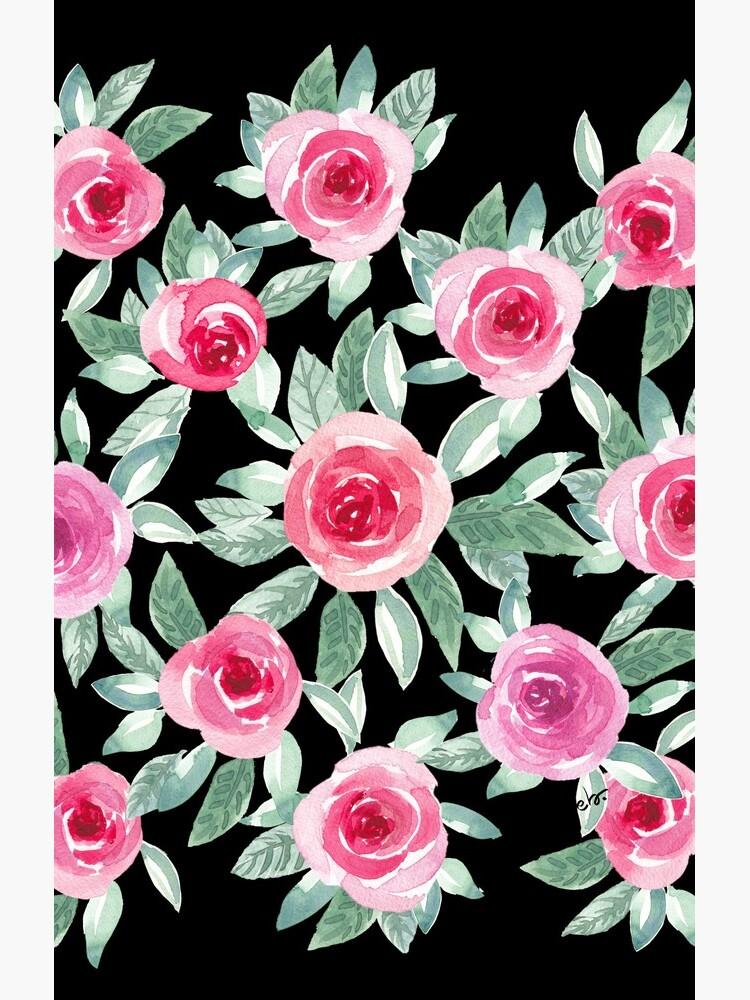 Watercolour Roses in black by ebozzastudio