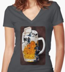 █ ♥ █  HOCKEY THE SPIRIT OF CANADIANS CHEERS-BEER HOCKEY TEE SHIRT █ ♥ █  Women's Fitted V-Neck T-Shirt