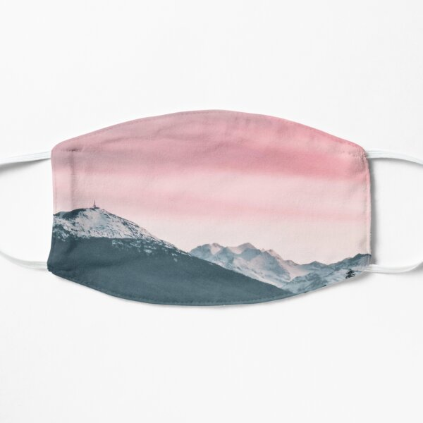 Snowy Mountain Pink Sky Mask