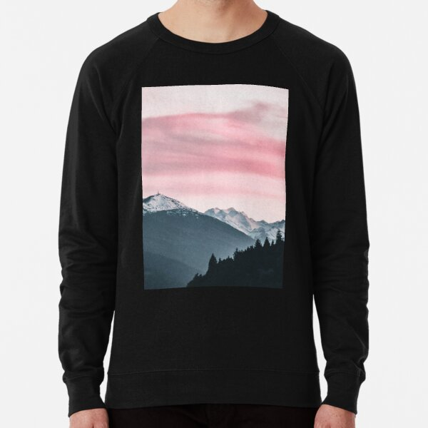Snowy Mountain Pink Sky Lightweight Sweatshirt