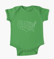 Kids Vintage U.S. Map Tshirt - Hand Illustrated One Piece - Short Sleeve